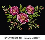 beautiful embroidery floral... | Shutterstock .eps vector #612728894