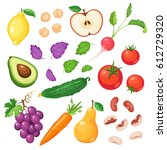 fresh fruits and vegetables... | Shutterstock .eps vector #612729320