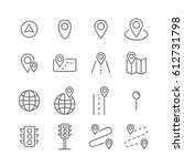 route related vector line icons | Shutterstock .eps vector #612731798