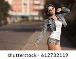 image of young happy woman ... | Shutterstock . vector #612732119