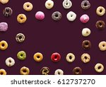 varities of donut flavor with... | Shutterstock . vector #612737270