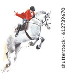 Stock photo horse jumping sport jockey watercolor painting illustration isolated on white background 612739670