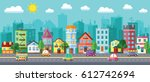 vector city street in a flat... | Shutterstock .eps vector #612742694
