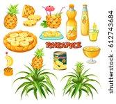 set of pineapple in various...   Shutterstock .eps vector #612743684