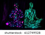 two zentai people ultraviolet... | Shutterstock . vector #612749528