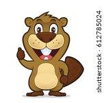 beaver giving thumbs up | Shutterstock .eps vector #612785024