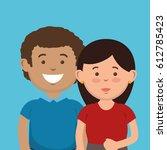parent couple avatars characters | Shutterstock .eps vector #612785423