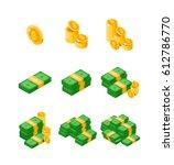 isometric dollars bundles... | Shutterstock .eps vector #612786770