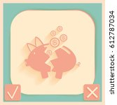broken piggy bank icon | Shutterstock .eps vector #612787034