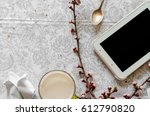 a tablet for communication on... | Shutterstock . vector #612790820