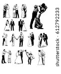 silhouette wedding bridegroom... | Shutterstock .eps vector #612792233