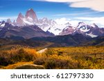 views from road to glaciers and ... | Shutterstock . vector #612797330