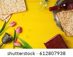 passover pesah celebration with ... | Shutterstock . vector #612807938