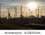 rails and roof of train station ... | Shutterstock . vector #612810164