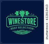 vector wine logo on dark blue... | Shutterstock .eps vector #612813413