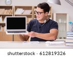 young freelance worked working... | Shutterstock . vector #612819326
