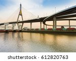 suspension bridge over... | Shutterstock . vector #612820763
