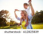 young mother having fun with... | Shutterstock . vector #612825839