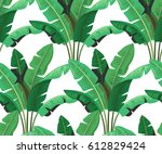 seamless tropical leaves palm... | Shutterstock .eps vector #612829424