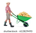 Cheerful Gardener Carrying A...