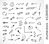 hand drawn arrows  vector set | Shutterstock .eps vector #612840380