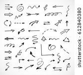 hand drawn arrows  vector set | Shutterstock .eps vector #612840380