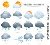 Weather Icon Sign Set Isolated...