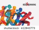 running people set of... | Shutterstock .eps vector #612843773