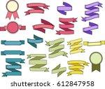 set of bright vintage ribbons... | Shutterstock .eps vector #612847958