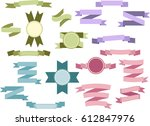 set of light colored vintage...   Shutterstock .eps vector #612847976