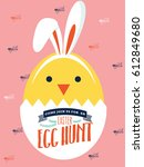 easter bunny egg hunt... | Shutterstock .eps vector #612849680