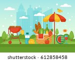 summer picnic and barbecue... | Shutterstock .eps vector #612858458