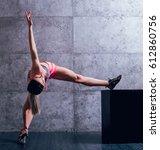 young beautiful sportswoman... | Shutterstock . vector #612860756