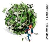 worry businessman run away from ... | Shutterstock .eps vector #612863300