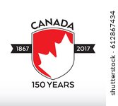a canadian shield celebrating... | Shutterstock .eps vector #612867434