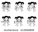 girl cares about her face.... | Shutterstock .eps vector #612868808