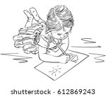 child drawing house and sun on... | Shutterstock .eps vector #612869243