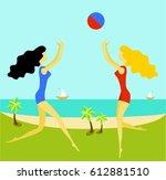 girls on the beach playing ball