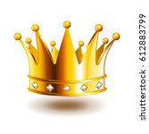classic crown with diamonds... | Shutterstock .eps vector #612883799