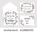 wedding invitation flower card... | Shutterstock .eps vector #612886550