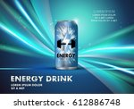 energy drink on wavy and shiny... | Shutterstock .eps vector #612886748