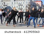 teenagers are dancing in the... | Shutterstock . vector #612905063