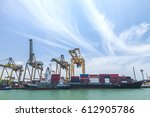 cargo ship loading containers | Shutterstock . vector #612905786