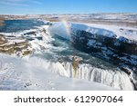 waterfall gullfoss in southwest ... | Shutterstock . vector #612907064