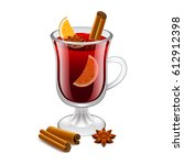 mulled wine glass isolated on... | Shutterstock .eps vector #612912398