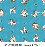 cartoon jack russell terriers.... | Shutterstock .eps vector #612917474