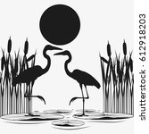 herons couple black silhouettes.... | Shutterstock .eps vector #612918203