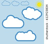 cloud vector icon set white... | Shutterstock .eps vector #612923834