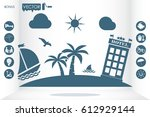 boat palm beach hotel icon... | Shutterstock .eps vector #612929144
