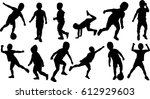 silhouette boy different set... | Shutterstock .eps vector #612929603